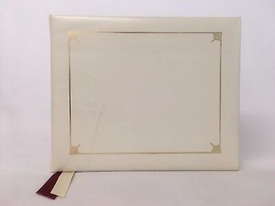 Aspinal of London White Leather Guests Album w/Cream Pages & Gold Edges.