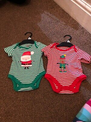 Bnwot Baby Girls/boys Long Sleeved Christmas Bodysuits Age Up To 3 Months