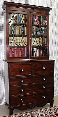 Antique American Federal Flame Mahogany Bookcase Secretary Ivory insets C1790