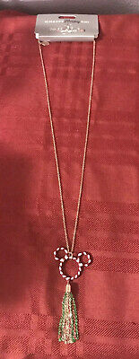 Disney Parks Mickey Mouse Candy Cane Necklace Christmas New