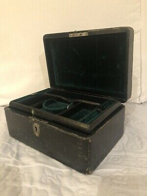 Beautiful Antique Leather Jewellery Box With A Key