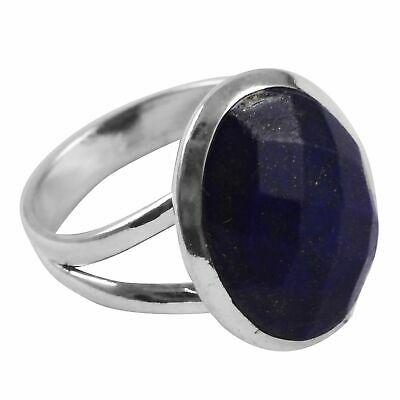 Faceted-Lapis Lazuli Solid 925 Sterling Silver Ring  Jewelry Size-6 AR-5458