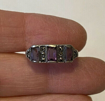 Antique ART DECO Sterling Silver Three Amethyst & Marcasite Band Ring Size 5