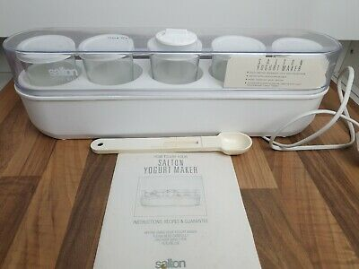 Vintage Retro Salton Yogurt Maker Thermostat Controlled 5 Capped Cups and Spoon