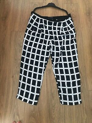 Ladies/girls black&white square trousers Primark Size18