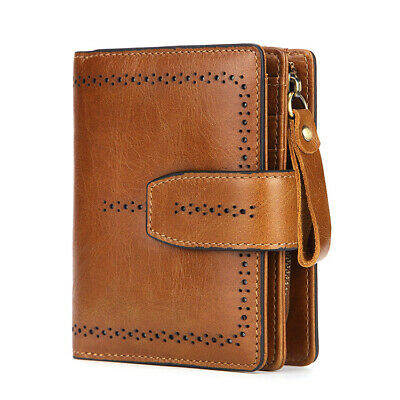 RFID Lady Womens Genuine Leather Bifold Wallet Credit Card Zipper Coin Purse QR