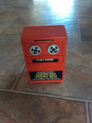 Vintage red State Bank computer money box