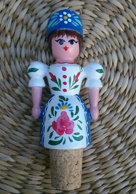 Vintage Collectible Cork Bottle Stopper,Hungarian Wood carved