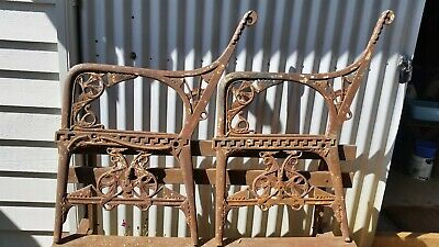 19th century antique cast iron garden bench ends designed by Christopher Dresser