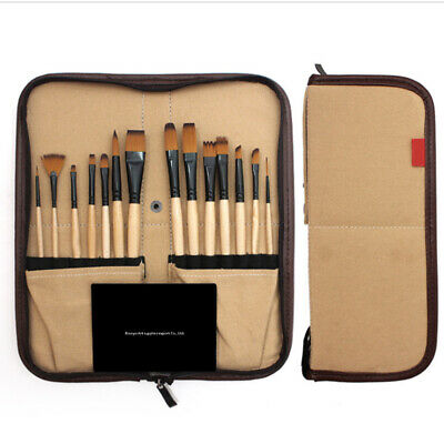 Tool Artist Watercolor Canvas Bag Portable Gouache Folding Paint Brush Set