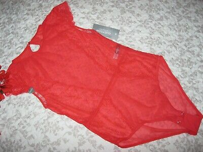 BNWT.Womens Super Soft,Gorgeous Lace/Mesh Sexy,Red,Eye Catching Bodysuit.NEW!