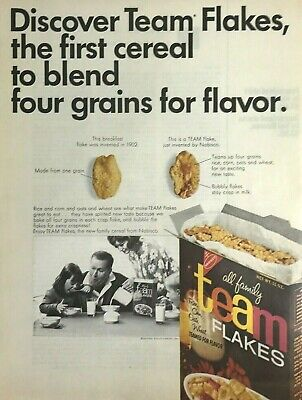 Nabisco Team Flake Cereal Magazine Print Ad Vintage 1965 Food Breakfast Original