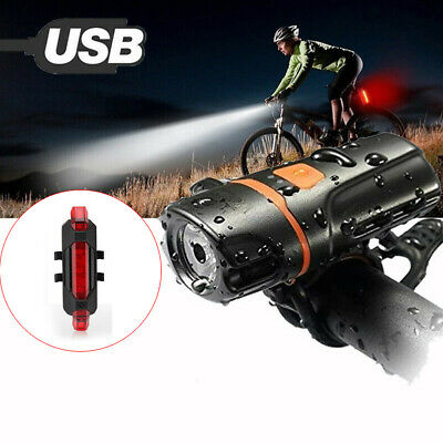 Bike Bicycle Lights LED Rechargeable Set Front Torch Back Headlight Taillight K