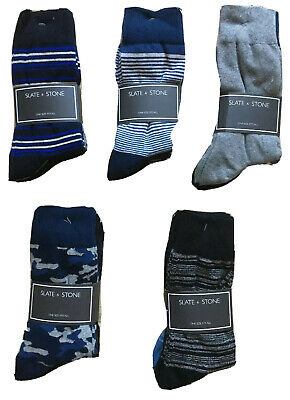 NEW SLATE & STONE Mens 3 Pack Dress Socks Assorted, One Size Fits All, RT $34.99