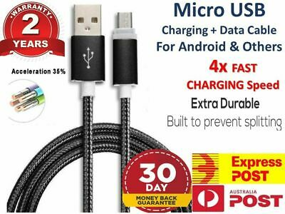 Premium Braided Micro USB Charger Cable FAST Charge Android Samsung LG HTC Oppo