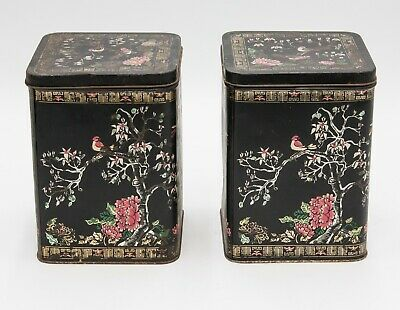 Pair of Antique 19th Century French Chinoiserie Hand Painted Tole Tea Tins