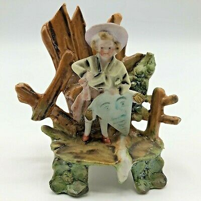 Antique Miniature Bisque Figurine Boy Kite Hand Painted