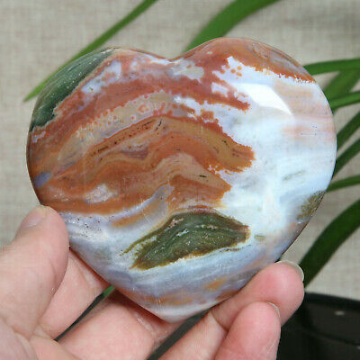 B673-228g Natural Colorful RARE Polished Ocean Jasper Crystal heart