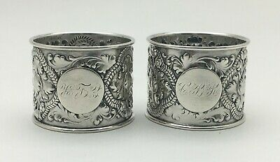 Fabulous Gorham Antique Pair Sterling Silver Repousse Flowers Napkin Rings 1888