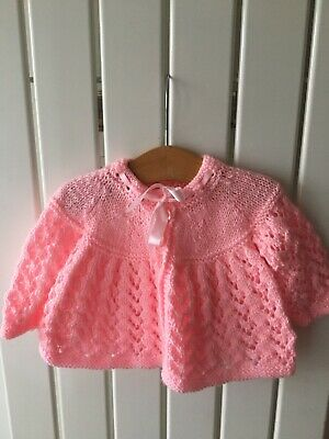 Baby Girl's Clothes 3-6 Months - Hand-Knitted Pink Bow Cardigan Brand New!!!