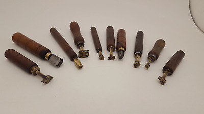 Job lot of 10 Stunning Leather Tool Embossing Tools 8 Brass & 2 Steel 22338