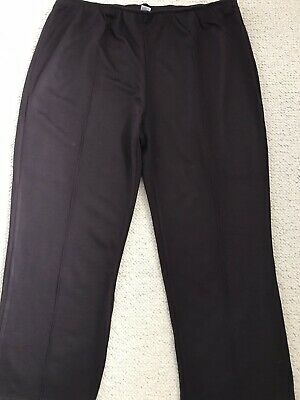 New Womens Brown Soft Pull On Jersey Trousers From Damart Size 24