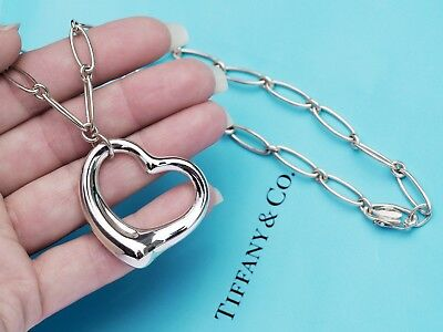 Tiffany & Co Sterling Silver Elsa Peretti Large Open Heart Oval Link Necklace
