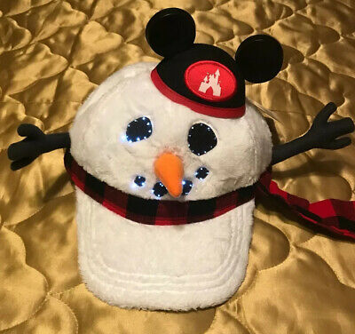 Disney Parks Snowman Light Up Hat Cap Mickey Ears Adult Adjustable NEW 2019