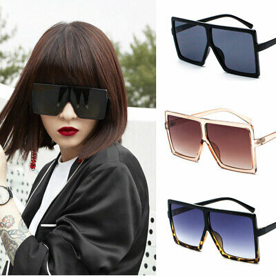 Women's Flat Top Large Oversize Square Frame Sunglasses Celebrity Fashion AU