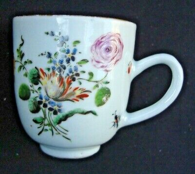 18Th C Chinese Porcelain Coffee Cup - Giles London Decorated, C 1760. Damaged