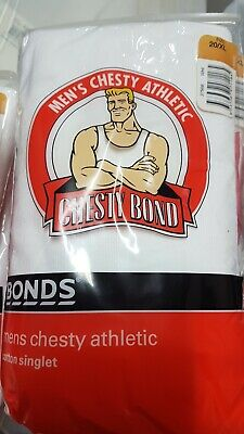 New Bonds Mens Chesty Athletic Cotton Singlet X 2 Pack Size 20 Xl White
