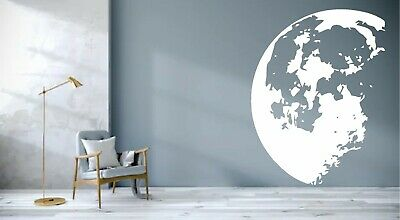 Half Moon Space Planet Realistic Single Wall Art Sticker Mural Decal Transfer