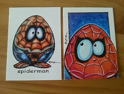 Spiderman Egghead Hand Drawn Colour Original Art Sketch Card By Rak Psc Aceo