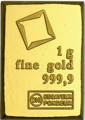 Gold Bar 1 gram 24kt pure gold .9999 extract from CombiBar VALCAMBI Switzerland