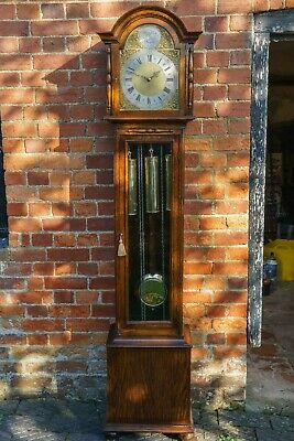 Westminster Chime Grandmother Clock c/a 1930.8Day beautifully restored.No RES.