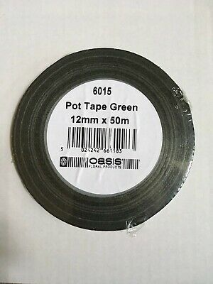 12Mm X 50 Mtrs Oasis Florist Pot/Garden Adhesive Tape   Green Sealed And New
