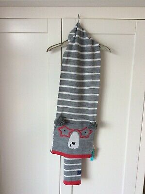 Girls Joules scarf, grey striped with bear face. One size, new with tags