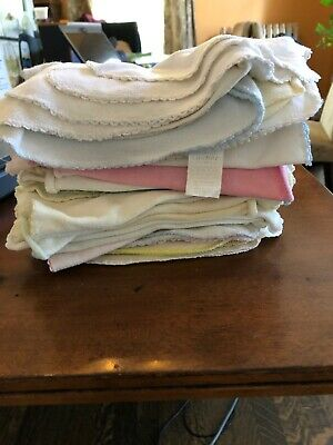 Lot of 40 Reusable White Flannel Cloth Baby Wipes, Wash Cloths, Napkins