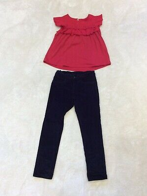 GAP Girls Bundle Navy Jeans & Red Cotton Flower Short Sleeve Top Size 6 Years