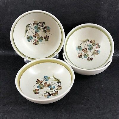 "Set Of 4 Denby Langley Shamrock Vintage Stoneware England 6.5"" Soup Cereal Bowl"