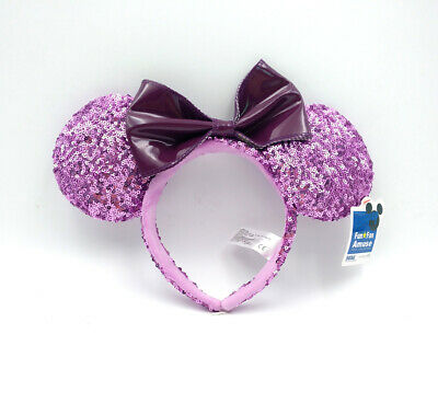 Disney Parks New Minnie Mouse Ears Purple Bow Sequins Party Mickey Cos Headband