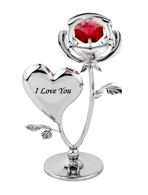 Crystocraft I Love You Red Rose Crystal Ornament Swarovski Elements Gift Boxed
