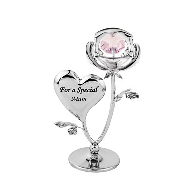 Crystocraft Special Mum Rose Crystal Ornament With Swarovski Elements Gift Boxed