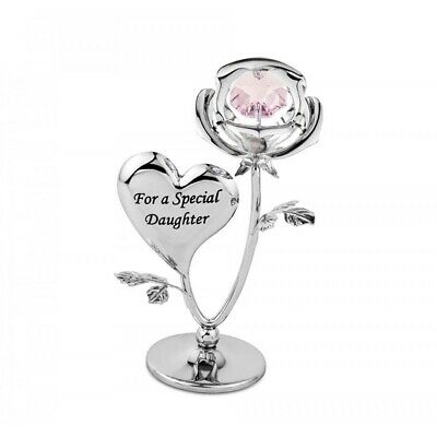 Crystocraft Special Daughter Rose Crystal Ornament With Swarovski Elements Gift
