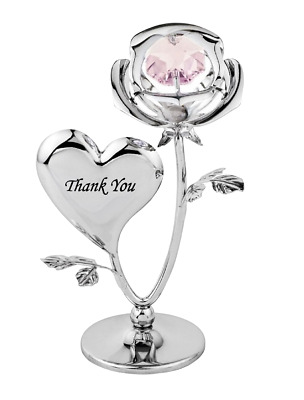 Crystocraft Thank You Rose Crystal Ornament With Swarovski Elements Gift Boxed