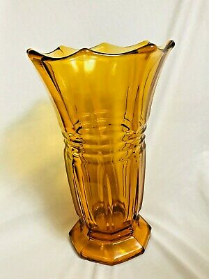 Antique Art Deco moser 30s Bohemian Czech Pressed Glass Amber Yellow Vase