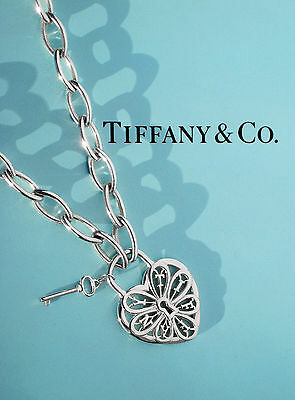 Tiffany & Co Sterling Silver Filigree Heart With Key Large Oval Link Necklace