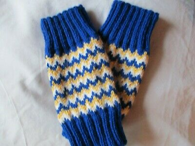 Ladies Hand  Knitted  Fair Isle Style wrist warmers, blue  white &  yellow
