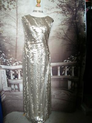 Phase Eight Dress/Ballgown Size 14 Collection 8 Gold Sequined Long/Maxi