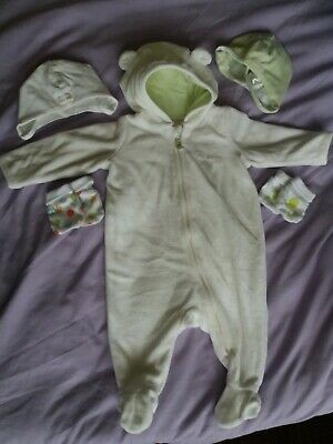 All-in-one suit h&m baby newborn 56cm + free hats and mittens